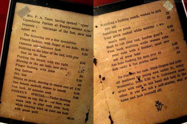 Brothel menu 1912